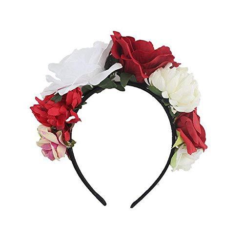 Bandeau Costume Rose Fleur Couronne De Fête De Noël Bandeau Parti Décor Cheveux Bande Tête Cerceau