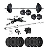 TONE UP Gym Equipments with PVC Dumbbell Plates, 4Ft Straight Rod...
