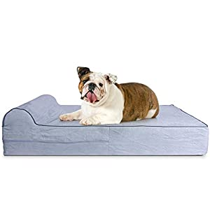 5.5-inch Thick High Grade Orthopedic Memory Foam Dog Bed With Pillow and Easy to Wash Removable Cover with Anti-Slip Bottom. Free Waterproof Liner Included – for Large Breed Dogs – Grey