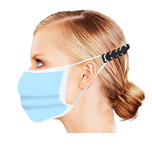 Labato Mask Extender Hooks, Adjustable Mask Ear Cord Extension Buckle Anti-Slip, Mask Extension Strap Relieves Discomfort and Pain in Your Ears, Compatible with All Kinds of Mask (100, Black)