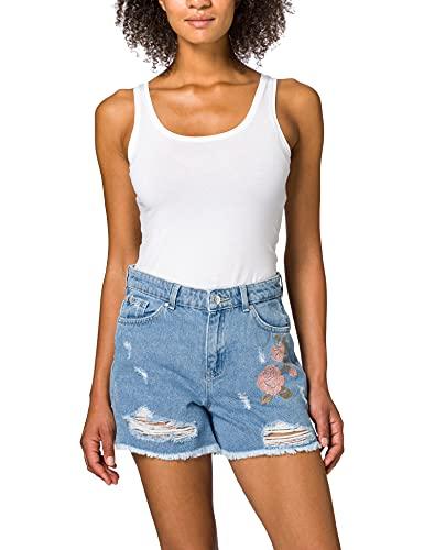 Only ONLKELLY Life HW EMB DNM Shorts AZG Pantalones Cortos de Jean, Mezclilla De Color Azul Claro, XL para Mujer