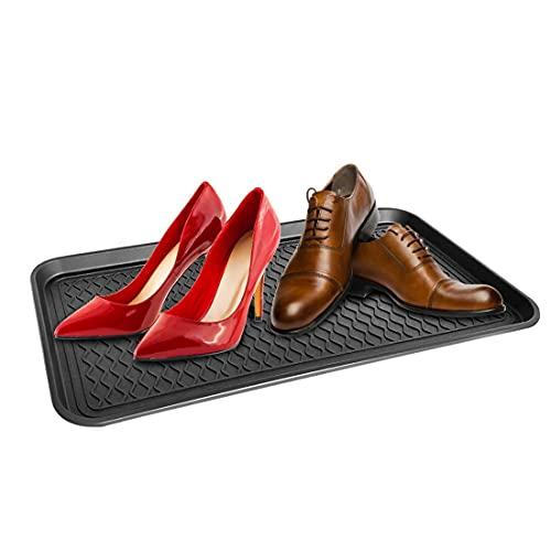 Sooair Bandeja para Zapatos, 2 Piezas Bandejas Zapatos Mojados Negro Bandeja Plástica Hecho de Plástico Zapatero de Plástico Adecuado para Colocar Zapatos Bandeja Zapatos (Negro)