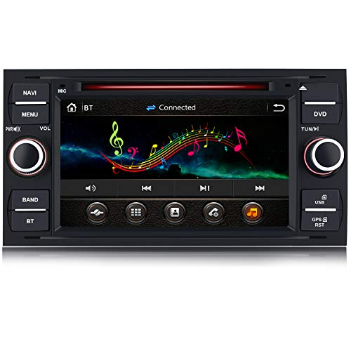AWESAFE 7 Pollici Autoradio 2 Din per Ford Focus Fiesta Kuga C/S-Max Fusion Transit Galaxy Mondeo (2005-2007) Car Radio con Bluetooth Vivavoce, CD/DVD/USB/BT/FM/AM/MirrorLink (Nero)