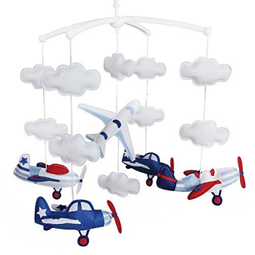Jouets éducatifs Décor de chambre d'enfant Design cousu à la main décoration de lit de bébé cadeau mobile pour nouveau-né Mobile musical pour 0-1 ans (vaisseau spatial)