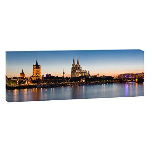 Querfarben Kölner Skyline 1 | Panoramabild im XXL Format | Trendiger Kunstdruck auf Leinwand | Verschiedene Größen (150 cm x 50 cm)