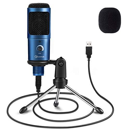 EIVOTOR Micrófono PC & Micrófono USB de Metal de Condensador Computadora Plug & Play con Soporte Trípode para Grabación, Podcasting, Transmisión, Youtube para Laptop Desktop iMac PC (Azul)