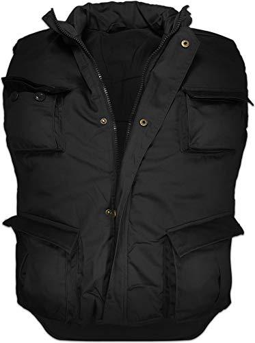 normani Wattierte Outdoor Weste mit vielen Taschen, gefüttert Farbe Schwarz Größe 4XL