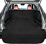 F-color SUV Cargo Liner for Dogs, Large Waterproof Pet Cargo Cover with Side Flap Protector Dog Seat Cover Mat for SUVs Sedans Vans with Bumper Flap, Non-Slip, Universal Fit, Black
