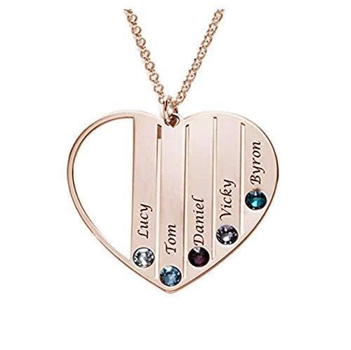 zhaolian888 Namenskette Silber 925 Halskette für Mutter mit Name Familie Herz Anhänger Gravur
