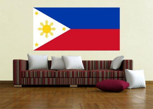 Kiwistar Wandtattoo Sticker Fahne Flagge Aufkleber Philippinen 120 x 60cm
