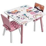 EUGAD 1 Table et 2 chaises Ensemble pour Enfants en MDF et Bois pin,Rose 0006ETZY