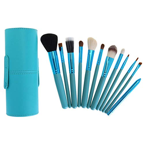 MPKHNM 12-barrel brush bucket brush wooden handle beauty makeup tool tube drum makeup brush set blue