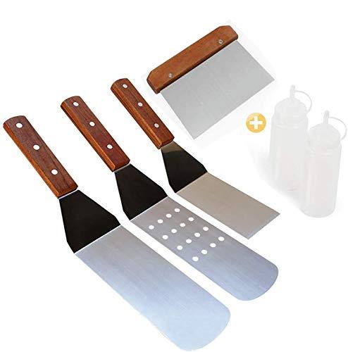 AMZANDY NEW 4 Stück Grillspachtel Edelstahl,Pfannenwender Set mit Holzgriffen, Glatte und Perforierte Spachtelund Grillschaber,für Teppanyaki-Grills und Backbleche