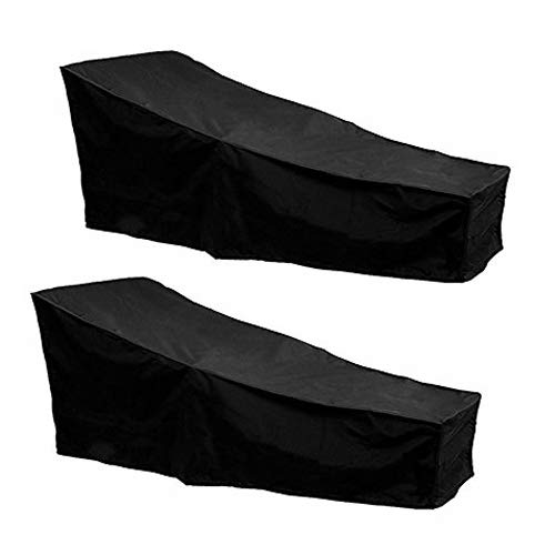 Dandelionsky 2 Pack Outdoor Sun lounger Deck Chair Cover Waterproof Dustproof Oxford Fabric Sunbed Cover Garden Patio Furniture Protector Cover Black 208x79x41/76cm