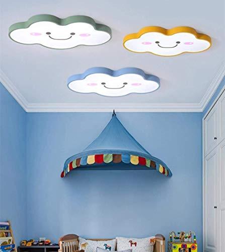 WEM - Lámpara decorativa, plafón moderno con LED de 24 W, luz de dormitorio para niños, luz sencilla para niños, regulable, luz blanca rosa, verde, luz blanca