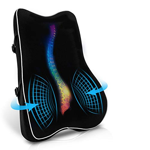 sanlinkee Lumbar Support Pillow Back Support Cushion, Memory Foam Back Support Pillow Lumbar Cushion for Office Chair Car Seat Wheelchair Breathable & Ergonomics Design Back Pain Relief Cushion, Black