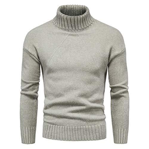 Luandge Jersey de Cuello Alto para Hombre Color Puro Moda Simple Cómodo suéter de Base Ajustado de Todo fósforo Primavera y otoño XXL