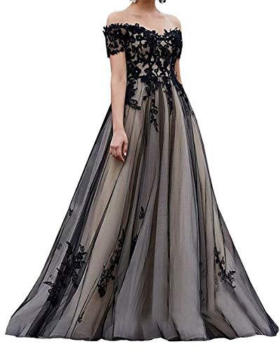 Women's Off The Shoulder Black Lace Wedding Dresses for Bride 2019 Applique Tulle Beach Bridal Gown 22 Plus