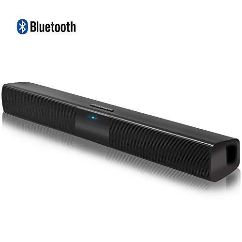 Altavoces Bluetooth PC, Barra de Sonido para TV Mini Soundbar Bluetooth 4.2 Inalambricos con Cables RCA/AUX/USB, Negro, 23 Pulgadas