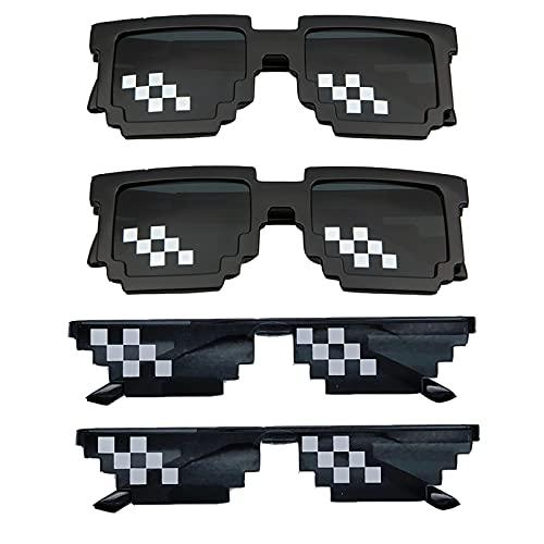 Gafas de Sol de Disfraces Fiesta Mosaico Gafas de Sol Para Hombre y Mujer Gafas de sol Vintage Desgaste para Fiesta Temática Disfraces Halloween, Photo Props, niños y Adultos (4 Piezas)