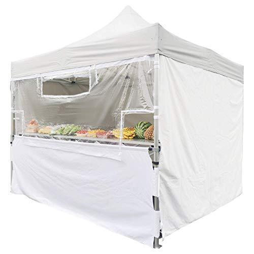 Greaden - Schermo trasparente di protezione in PVC + mezza tenda inferiore in poliestere rivestimento per tenda solida, 40 mm 3 x 3 m, 100% impermeabile e resistente, colore: bianco