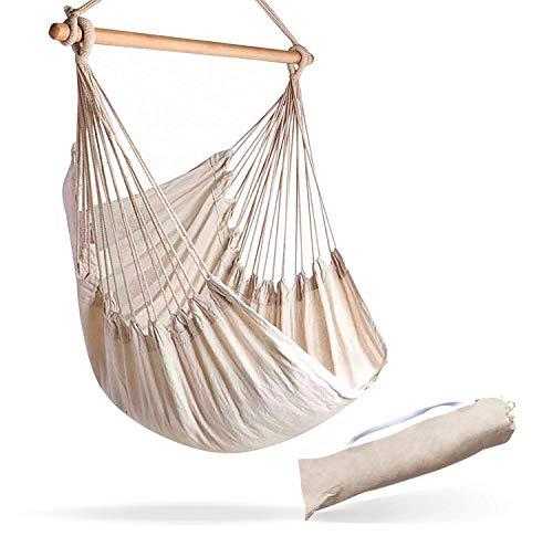 Hamaca grande de algodón brasileño para mayor comodidad y durabilidad, cama extra larga, silla colgante para patio, dormitorio, porche, interior/exterior