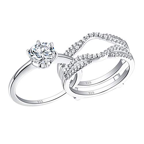 Wuziwen Wedding Rings for Women Solitaire Round Cz Engagement Ring Set Sterling Silver Size 7