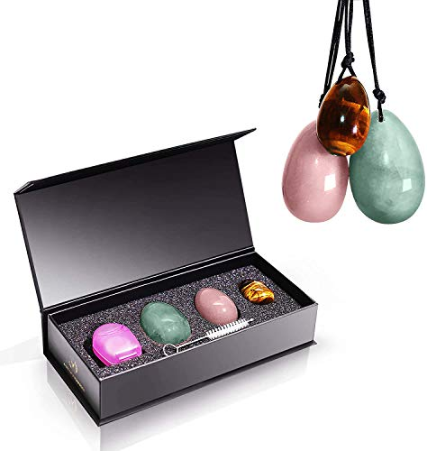 Magical Yoni. 3 pcs Set of Drilled Natural Yoni Eggs for Women.GIA Certified. Rose Quartz, Jade, Tiger Eye. Perfect for Kegel, Training Your Pelvic Floor and Yoga Exercise.