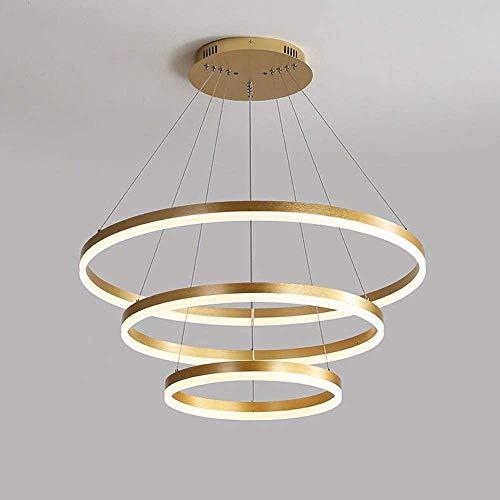 Wlnnes Anillo circular moderno LED lámparas de oro Metal Dorado durante la luz para sala de estar, dormitorio, restaurante, terraza, cocina, islas 1 luz, luz colgante de techo (Color : 3 circle)
