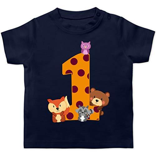 Geburtstag Baby - 1. Geburtstag Waldtiere - 12/18 Monate - Navy Blau - Tshirt erster Geburtstag - BZ02 - Baby T-Shirt Kurzarm
