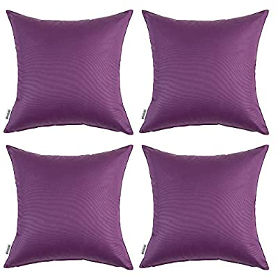 MIULEE Pack of 4 Decorative Outdoor Waterproof Pillow Covers Square Garden Cushion Cases PU Coating Throw Pillow Cover Shell for Patio Tent Park Couch 20x20 Inch Purple