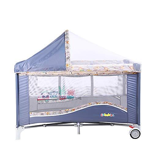 BCB Lit de Voyage pour bébé Portable, Design 2 en 1 en Tant Que Bassinet Bed & Activity Play Center, Cadre Pliable avec Matelas, Poche de Rangement, Sac de Transport, Blue