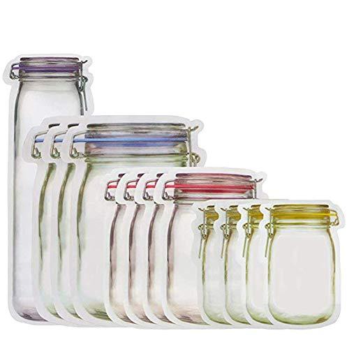 Angoter 12 Stück Weckglas Zipper-Taschen Wiederverwendbare Snack Saver Bag Leakproof Lebensmittel Sandwich-Speicher-Beutel für Reisen Kinder Leakproof Essen