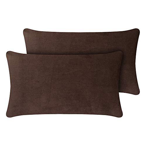 Selfitex - Juego de 2 cojines de sofá con relleno y funda de terciopelo elegante, muy mullidos, incluye relleno, cojín decorativo, fabricado en Alemania (30 x 50 cm), color marrón