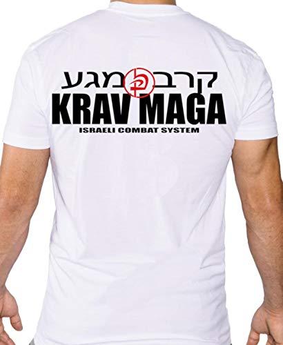 Dynamix Athletics T-Shirt Krav MAGA Combat Weiß - Kampfsport Israel Combat Shirt für Herren (XL)