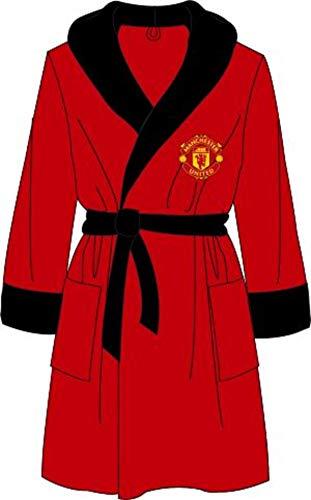 Manchester United Offizieller Herren-Bademantel, Fleece, Größe M, L, XL Gr. S, rot
