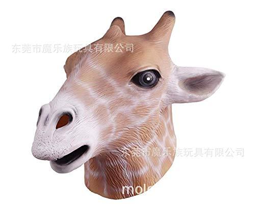 SCLMJ Maschera in Lattice Halloween,personalità Divertente Carino Giraffa Animale Testa Latex Mask,Unisex-Adult per novità Costume di Halloween Horror Party Fancy Dress Costume Accessorio
