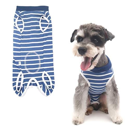 Due Felice 犬 術後服 術後ウェア エリザベスカラーに代わる ボタンテープ 皮膚保護 傷舐め 避妊 傷口の保護 小型犬 中型犬 大型犬 ライトブルー しま模様 XL