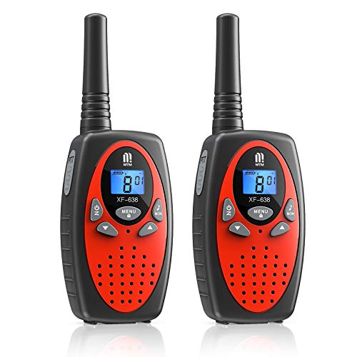 Walkie Talkie PMR446 16 Canales Función VOX Rango de 3KM 10 Tonos de Llamada con LCD Retroiluminada Walky Talky,Regalos para Actividades Externas, Camping (Rojo,2)