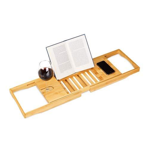 Relaxdays Badewannenablage Bambus mit Buchstütze HxBxT 17,5 x 70 x 22 cm, Weinglashalter, Badewannenbrett, Ablage, natur