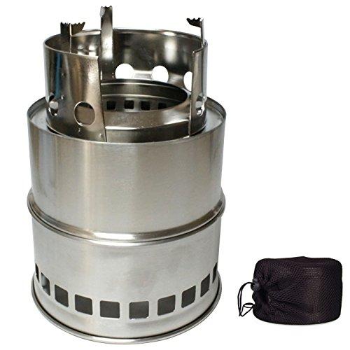 ウッドストーブ ウッドバーニングストーブ 五徳無タイプ 全2タイプ 組立式 重量480g 収納袋付 ステンレス製 18*13.5*13.5cm [並行輸入品]