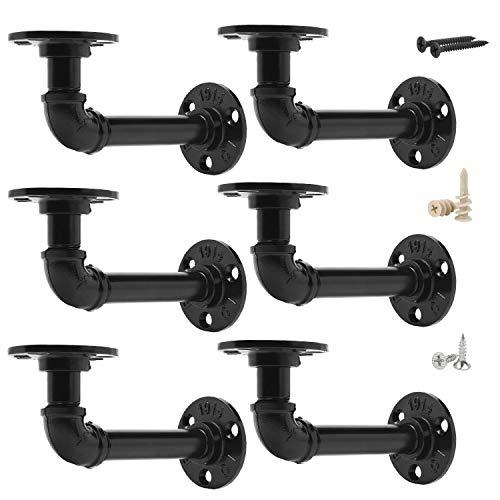 EQUASON Set of 6 Industrial Iron Rustic Pipe Custom Floating Shelves DIY Shelf Brackets Black Hardware Included