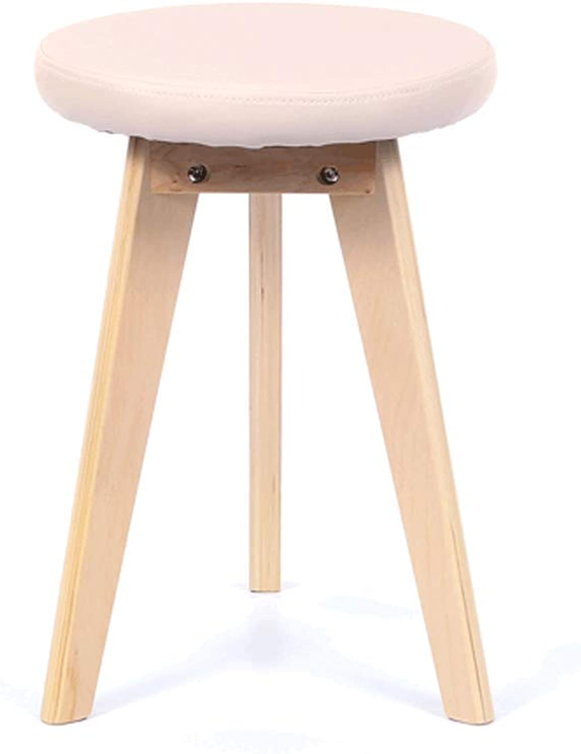 Aijl Footstool, Small Bench Living Room Dining Stool Sofa Stool Bed End Stool 36  32  48cm (7 colors) (color   Beige PU)