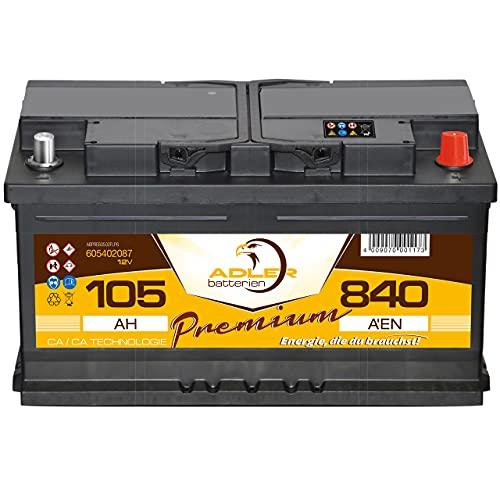 Auto Batterie 12V 105Ah 840A/EN Adler Premium Batterie statt 85 88 90 92 95 100 Ah