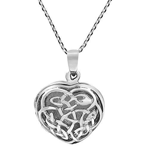 AeraVida Endless Celtic Knot Heart Locket .925 Sterling Silver Necklace