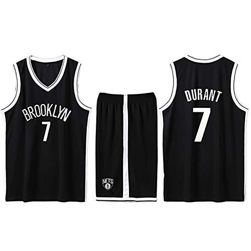 Brooklyn Fans Geschenk Nr. 7 Basketball Jersey, Durant Basketball Jersey Shorts Ärmellose Anzüge für Kinder, Männer und Unisex-Basketball-T-Shirts Student Sportswear-Black-M