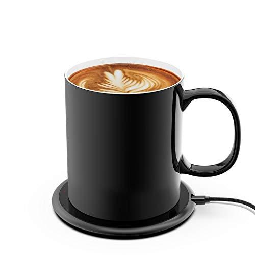 iwoxs Coffee Cup Warmer Smart Sensor Coffee Warmer For Desk,New Upgrade 24 Watt Wireless Charger Coffee Mug Warmer Two In One Function 131°F/55°C(with High Quality Coffee Cup)