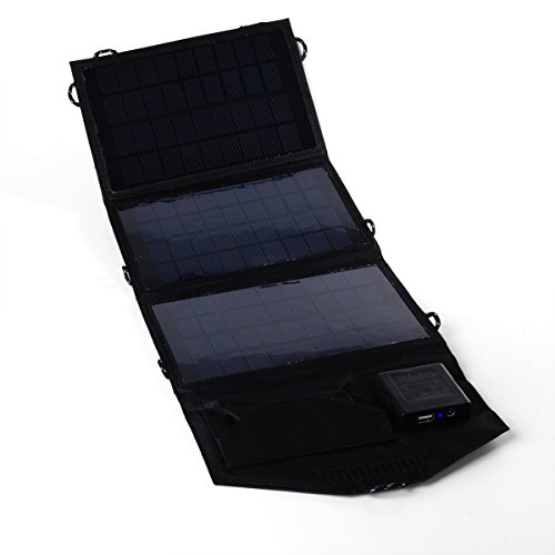 Xcellent Global Caricabatterie a Energia Solare a 18V Pieghevole e Portatile on Connettore USB per Computer Portatili, Tablet, iPad, iPod, Cellulari, iPhone, Samsung, Blackberry, GPS, Fotocamere Digitali, Videocamere, Console Portatili per Videogiochi, Auricolari Bluetooth