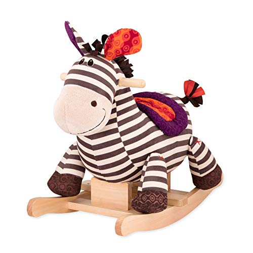 Review B. toys by Battat Kazoo Wooden Rocking Zebra – Rodeo Rocker – Plush Ride On Zebra Rocking...