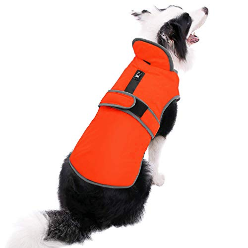 MIGOHI Reflective Waterproof Windproof Dog Coat Cold Weather Warm Dog Jacket Reversible Stormguard Winter Dog Vest for Small Medium Large Dogs (Orange, XXXL)